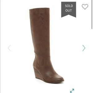 LUCKY BRAND YACEY WEDGE BROWN BOOTS SZ 7